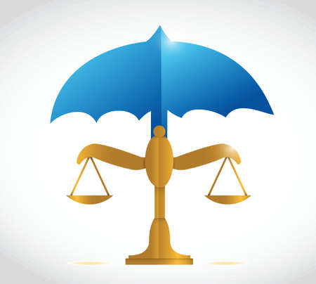 constitutional law: umbrella over a balance illustration design over a white background Illustration