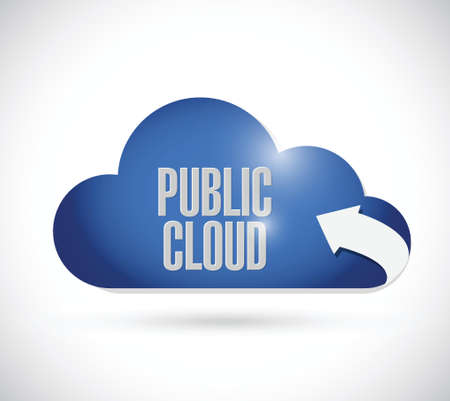 synchronizing: public cloud illustration design over a white background