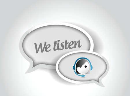 we listen customer support bubble illustration design over a white background