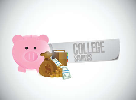 college savings sign illustration design over a white background Vector