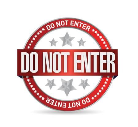 do not enter seal illustration design over a white background