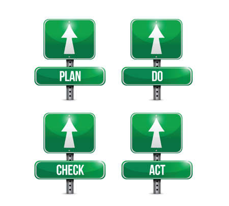 plan do check act: plan, do, check, act signs illustration design over a white background