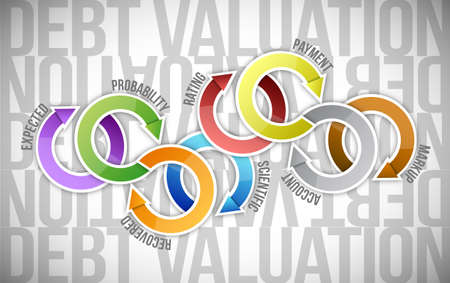 valuation: debt valuation cycle diagram illustration design over a white background Stock Photo