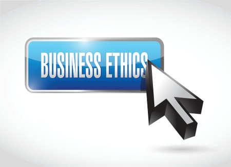 business ethics button illustration design over a white  Ilustração