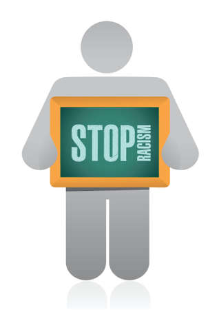stop racism sign illustration design over a white background Illustration