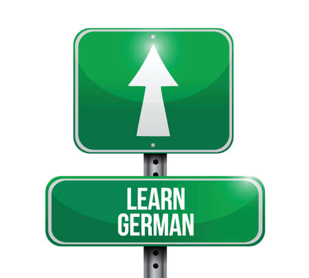 learn german signpost illustration design over a white background Illustration