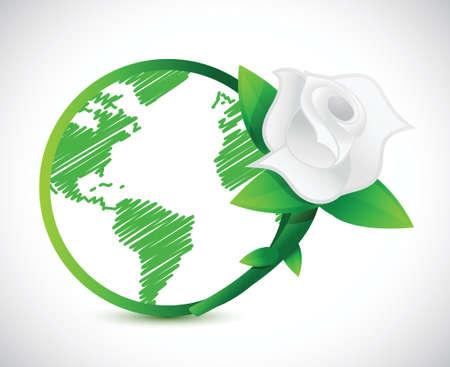 green globe and a rose. illustration design over a white background Illustration