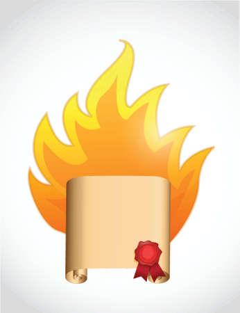 scroll on fire. illustration design over a white background Illustration