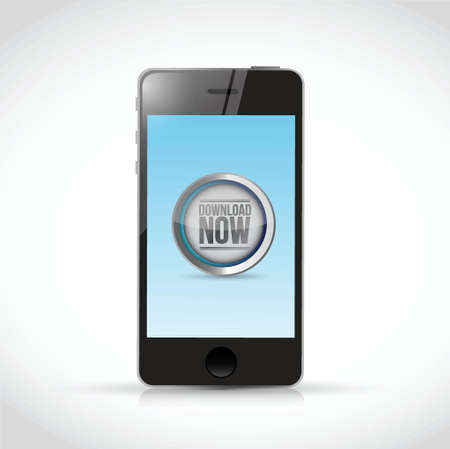 torrent: download now button and phone illustration design over a white background