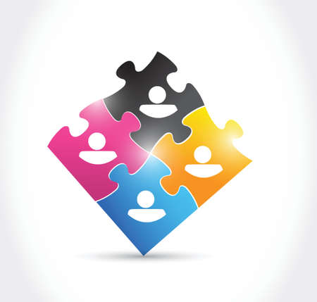 avatars and puzzle pieces illustration design over a white