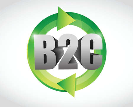 b2c: business to customers cycle illustration design over a white