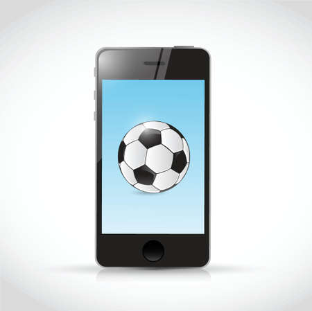 phone and soccer ball illustration design over a white background Vector