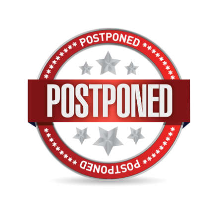 postpone: postpone red seal illustration design over a white background Illustration