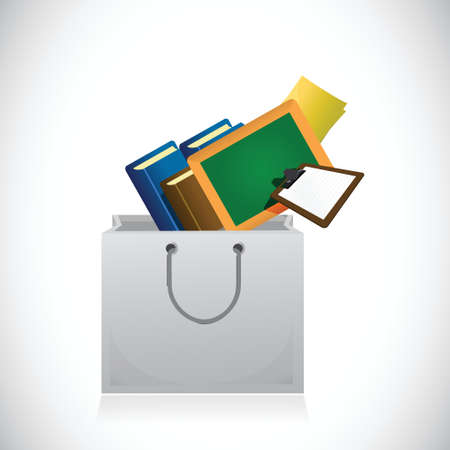 commercial recycling: education icons inside a shopping bag. illustration design over a white background Illustration