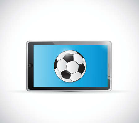 soccer ball tablet app illustration design over a white background Vector