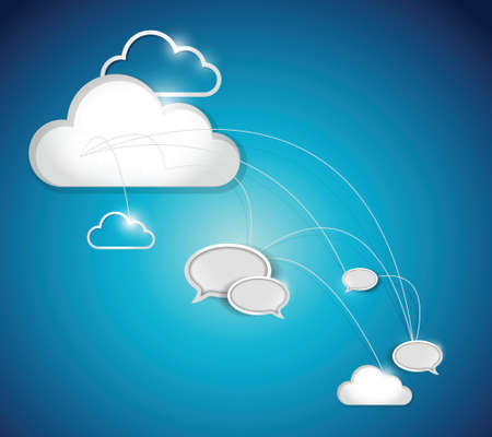 differential focus: cloud computing communication network illustration design over a white background