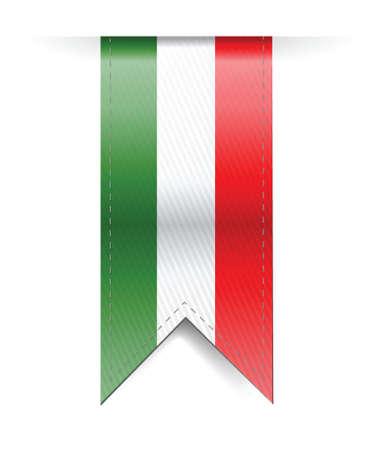 italian flag banner illustration design over a white background Illustration