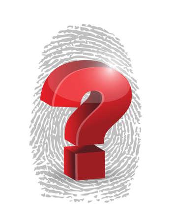 fingerprint and question mark illustration design over a white background