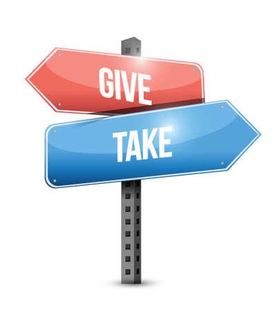 altruism: give and take sign illustration design over a white background Illustration