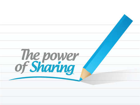 power of sharing message illustration design over a white background