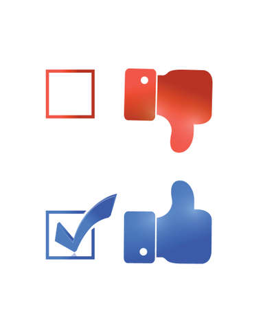 thumbs up check mark tick illustration design over a white background