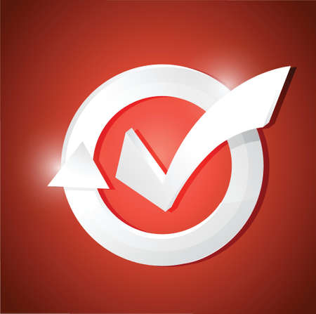 check mark cycle illustration design over a red background Vector