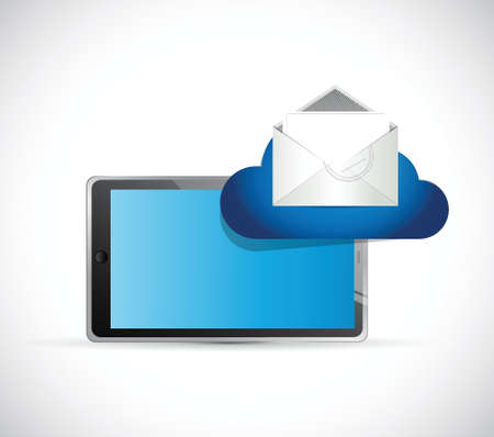 tablet and email cloud. illustration design over a white background Vector