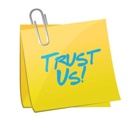 reliance: trust us post message illustration design over a white background Illustration
