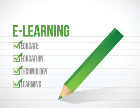 e learning check list illustration design over a white background 向量圖像