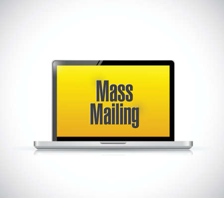 mailing: mass mailing message on a laptop computer. illustration design over a white background