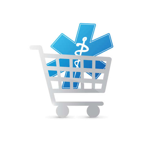 purchasing: shopping cart medical symbol illustration design over a white background Illustration