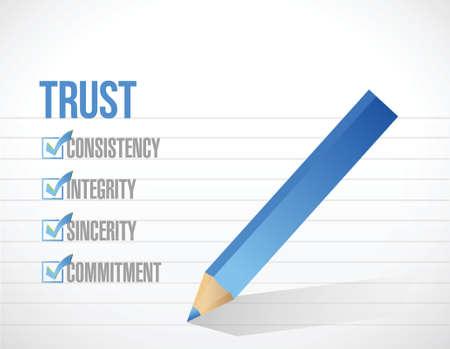 superviser: v�rification de la liste de confiance marque, illustrations et conception sur un fond blanc Illustration