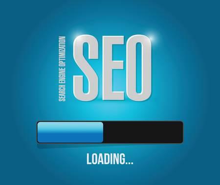 sep search engine optimization loading bar illustration design over a blue background Stock Illustratie
