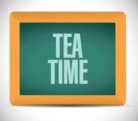 tea time message illustration design over a white background Vector