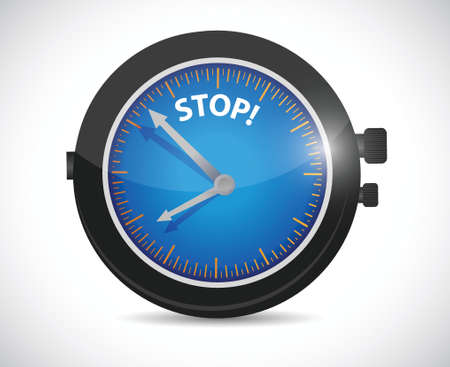 cease: watch and stop sign illustration design over a white background Illustration