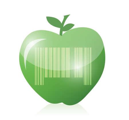 appel en barcode illustratie ontwerp op een blauwe achtergrond Stock Illustratie