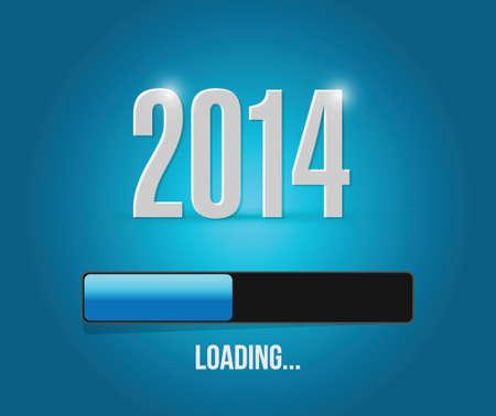 week end: 2014 a�os de carga de dise�o de barras ilustraci�n sobre un fondo azul