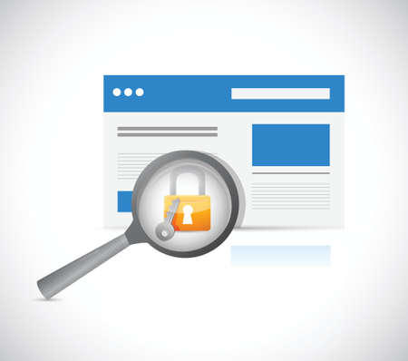 website security protection review illustration design over a white background Vector
