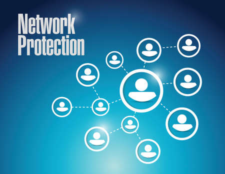 identity protection: network protection diagram illustration design over a blue background Illustration