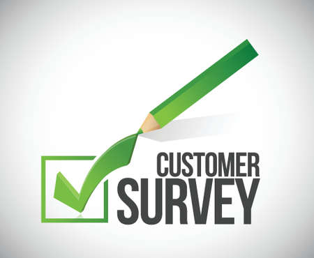 urne: sondaggio tra i clienti segno di spunta design illustrazione su uno sfondo bianco