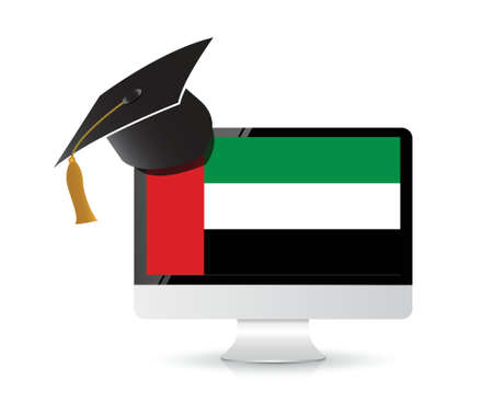 technology arabic education concept illustration design over a white background