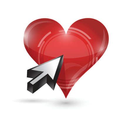 unrecognizable person: click heart illustration design over a white background