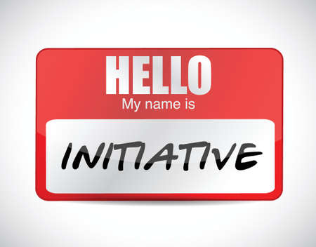 initiative: initiative name tag illustration design over a white background