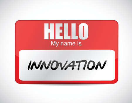innovation name tag illustration design over a white background