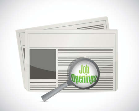 job opening: looking for job openings in a newspaper. illustration design over a white background