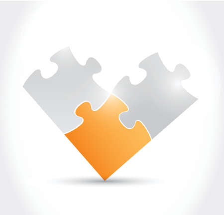 puzzle pieces illustration design over a white background Vector