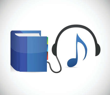 audio book: music and education. illustration design over a white background