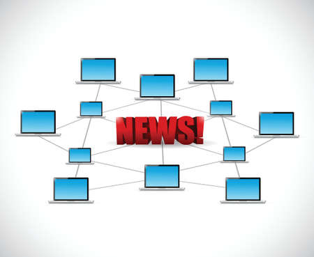 subsequently: technology news network illustration design over a white background