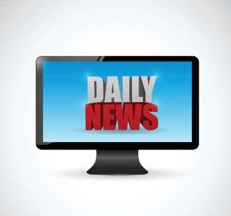 good break: las noticias diarias en un monitor de pantalla. dise�o de ilustraci�n sobre un fondo blanco
