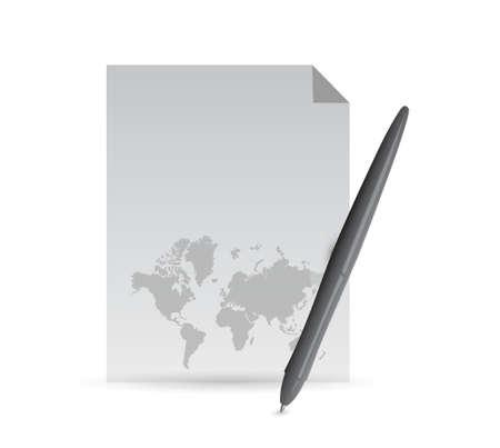 papier en potlood en wereldkaart illustratieontwerp op een witte achtergrond
